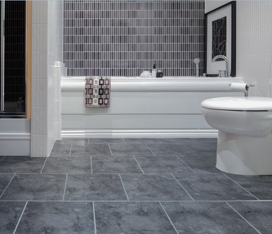 Gray vinyl sheet flooring for bathroom