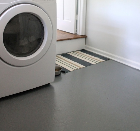 Gray Water Based Concrete Paint Laundry Room Floor