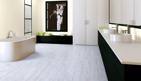 Installing laminate flooring for bathroom with glue