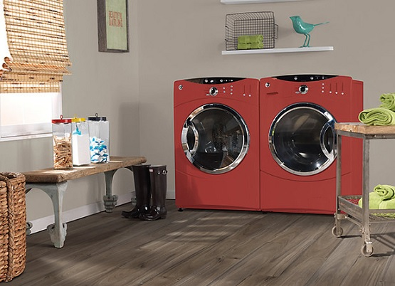 Luxury vinyl flooring for laundry room