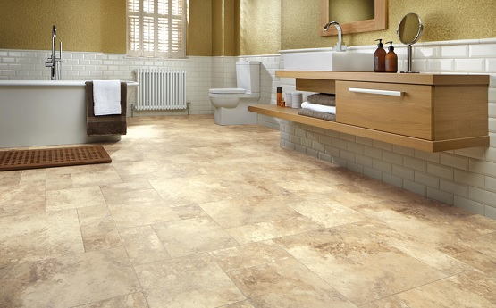 Luxury vinyl tile flooring for bathroom