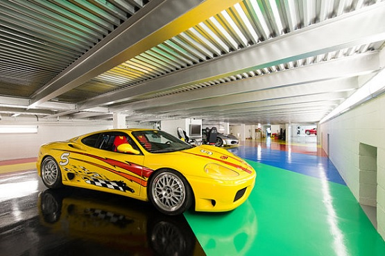 Modern style and colorful painted garage floor ideas