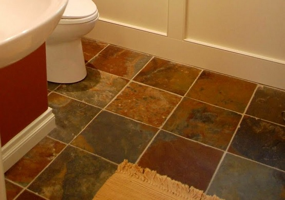 Multi color slate bathroom floor