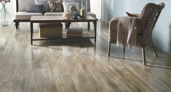 Old living room decor with vinyl flooring that looks like wood