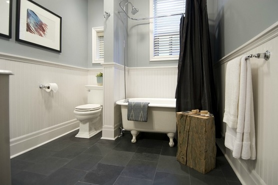 Premium black slate bathroom floor