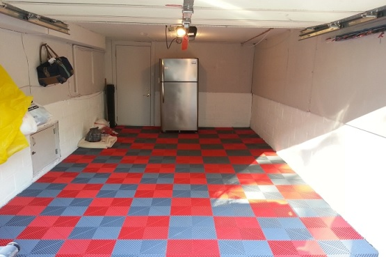 Red and grey vinyl garage flooring