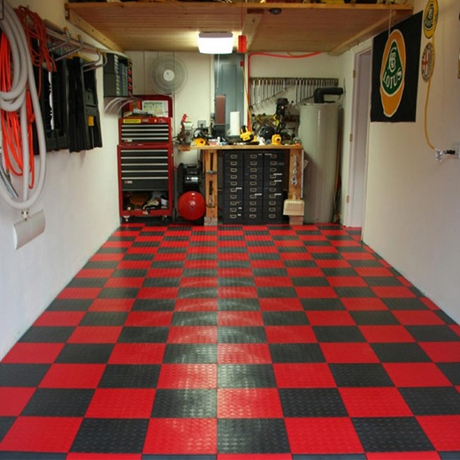 Rubber tiles garage floor covering