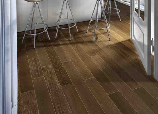rugged brown floating vinyl plank kitchen flooring | flooring