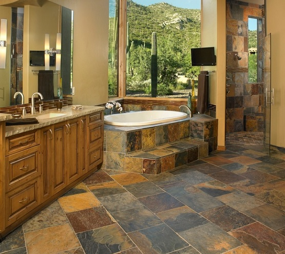 Rustic slate bathroom floor