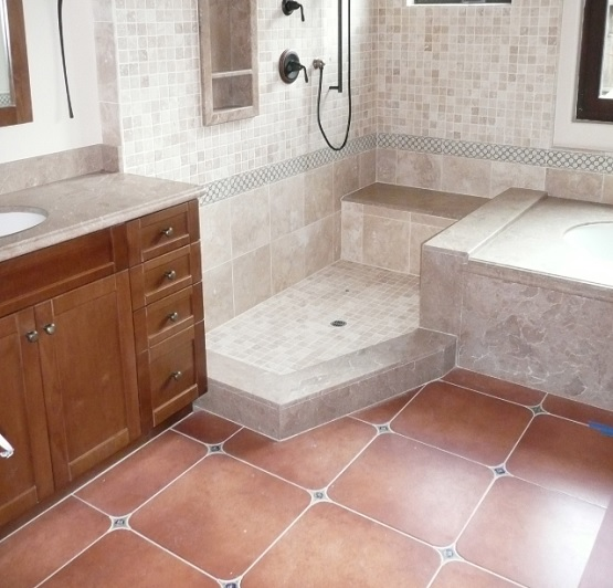 Square vintage bathroom floor tile