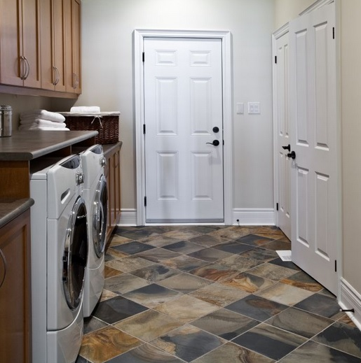 Stone tile basement laundry room flooring