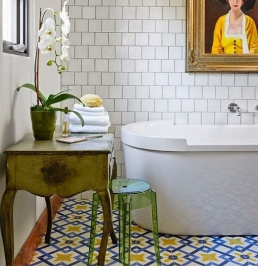 Vintage bathroom floor tile designs