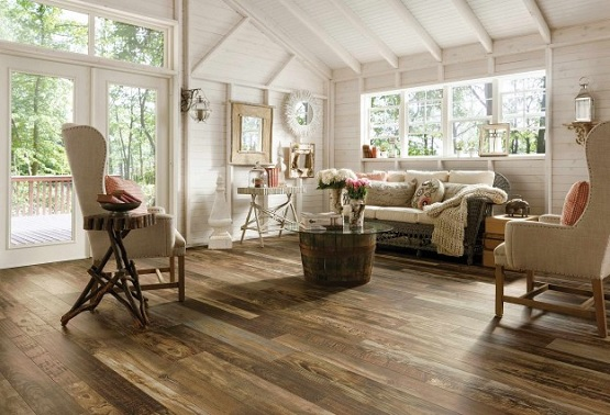 Vinyl flooring that looks like wood planks for living room