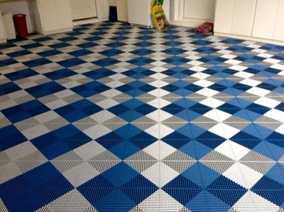 White & blue vented grid-loc rubber garage floor tiles