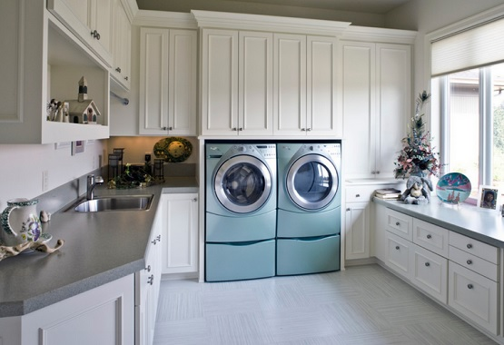 White vinyl flooring for laundry room