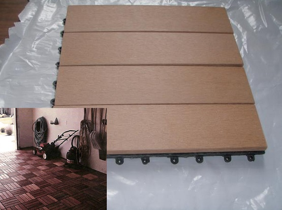 Wood composite tiles garage floor covering