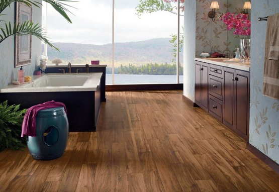 Wood vinyl plank flooring for bathroom