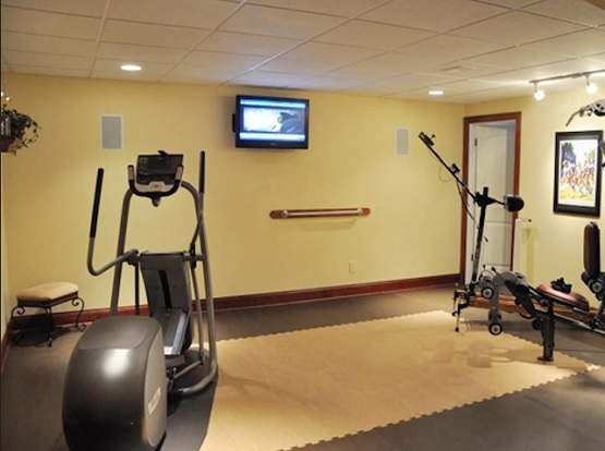 Black and brown intelocking exercise room flooring design