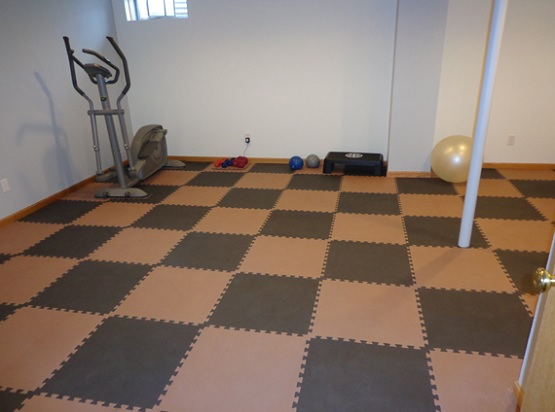 Black and brown soft tile for home gym flooring
