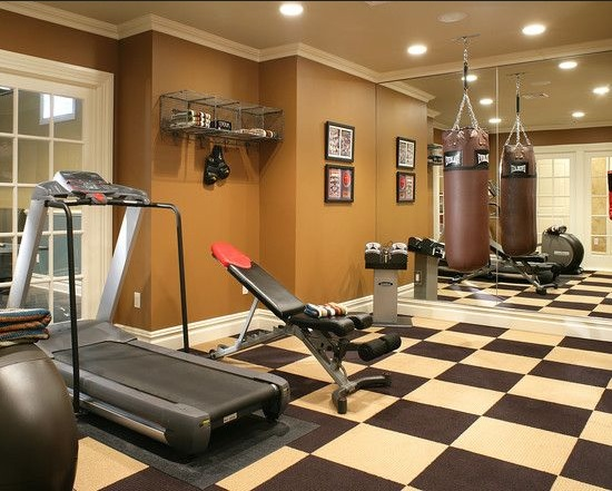 Black and white rubber tile for best home gym flooring