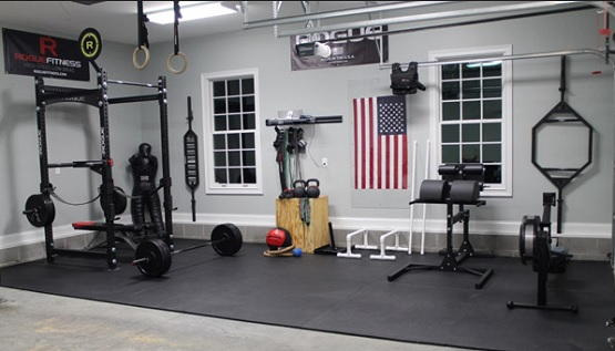 Black rubber exercise room flooring