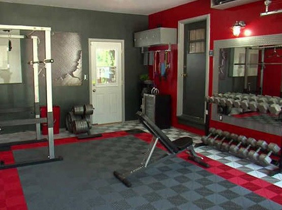 Colorful exercise room flooring