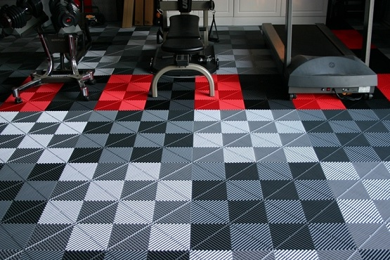 Grey artistic interlocking rubber gym floor tiles