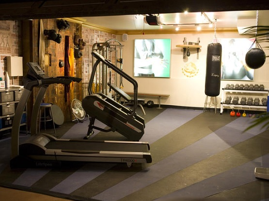 Pre-cut rubber home gym flooring ideas