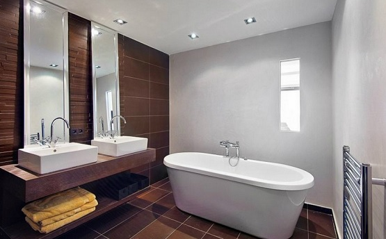 Brown contemporary tiles for small bathroom floor