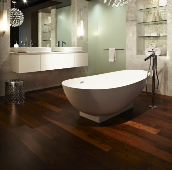 Dark brown wood floor in bathroom