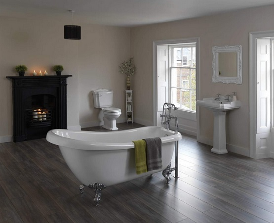 Elegant and sophisticated hardwood flooring in bathroom