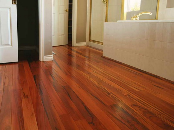 Engineered hardwood flooring in bathroom