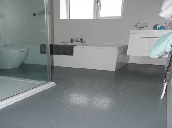 Gray rubber bathroom flooring
