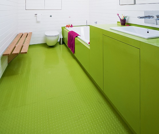 Green rubber bathroom flooring
