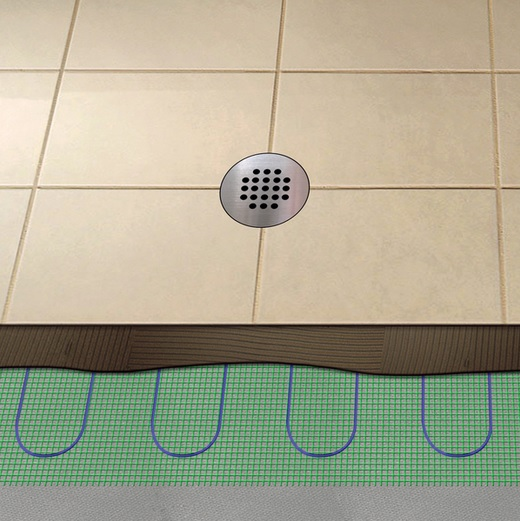 Heated shower floors for bathroom flooring