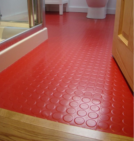 Red rubber bathroom flooring ideas