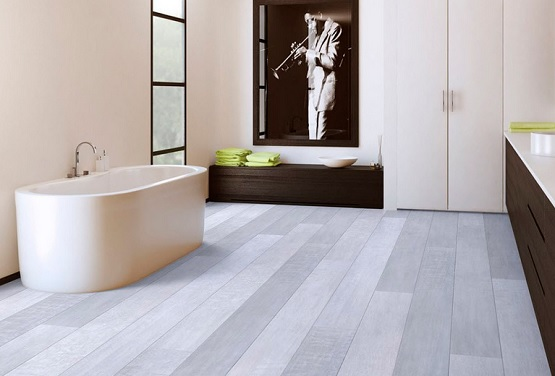 Synthetic wood flooring option in bathroom