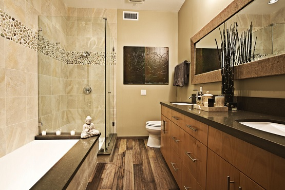 Teak hardwood flooring in bathroom