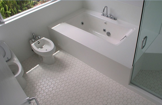 White and clean rubber bathroom flooring