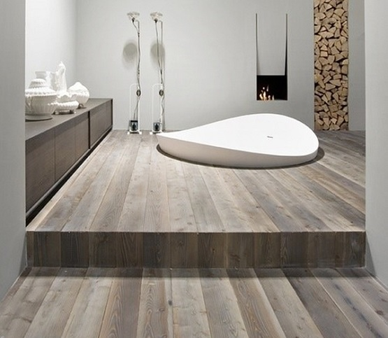 Wood floor in bathroom design