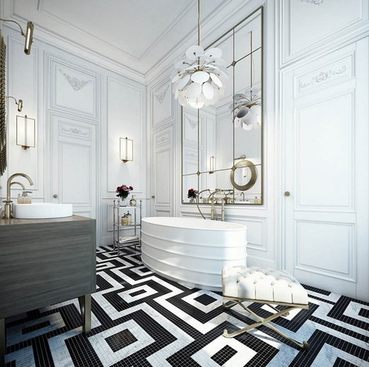 Amazing black and white bathroom floor tile arrangement