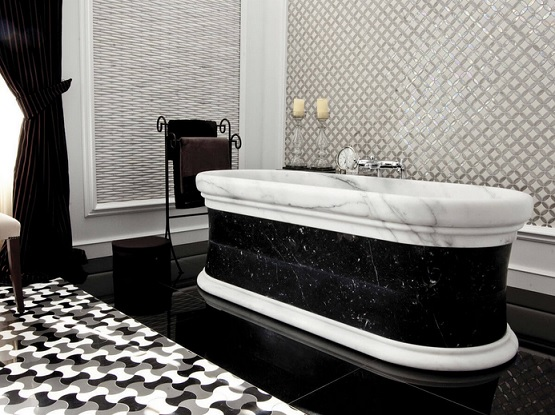 Antic colonial bathroom with black and white bathroom floor tile