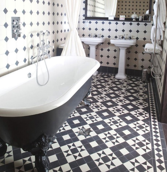 Black and white bathroom floor tile on beautiful small bathroom