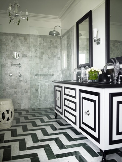Black and white bathroom floor tile with double vanity
