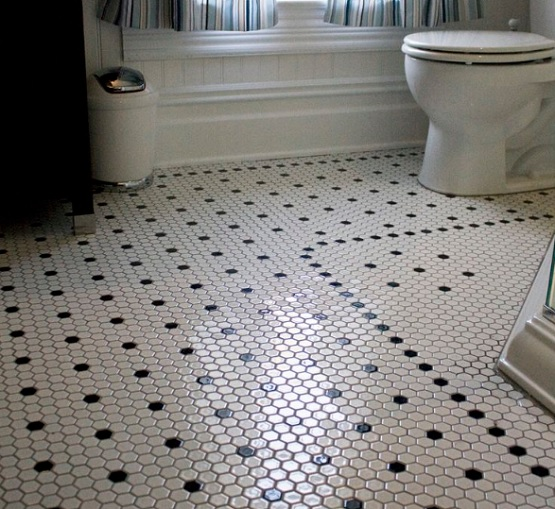 Black and white hexagon bathroom floor tile design