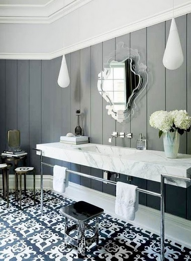 Black and white victorian style bathroom floor tile
