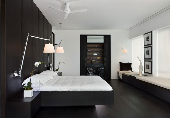 Black bamboo flooring in modern bedroom