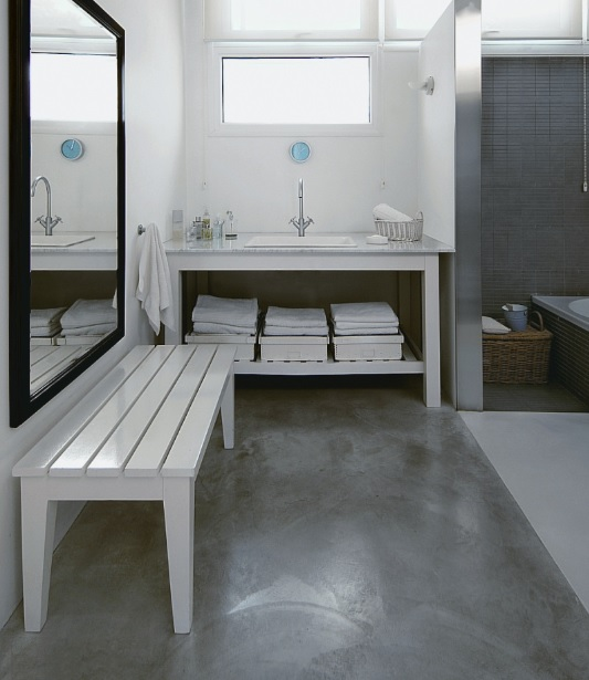 Concrete bathroom floor ideas on small bathroom