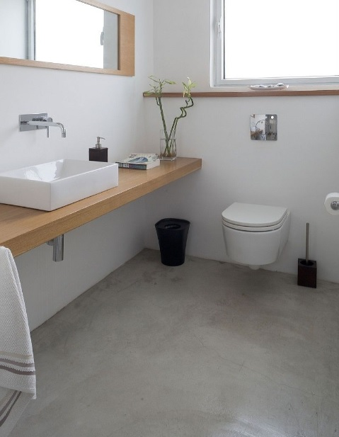 Concrete bathroom flooring for clean bathroom