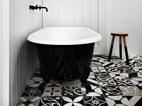 Decorative Black And White Random Bathroom Floor Tile Flooring Ideas Floor Design Trends
